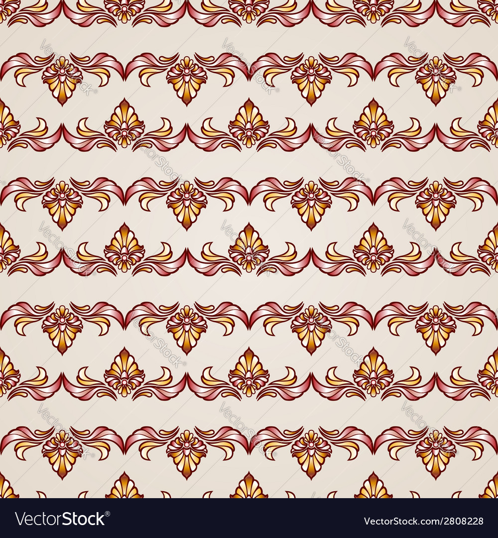 Stripy floral seamless pattern vector | Price: 1 Credit (USD $1)