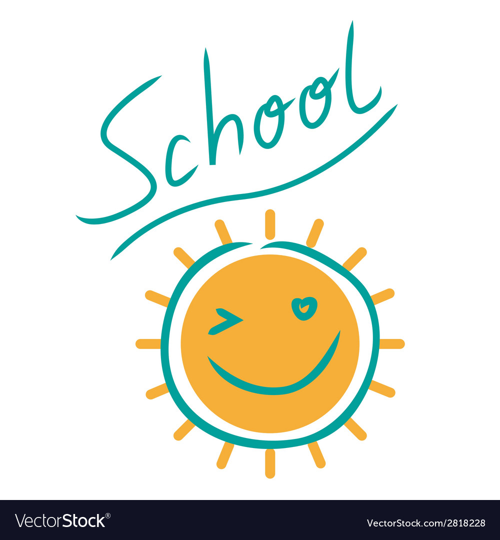Sunny school sign vector | Price: 1 Credit (USD $1)