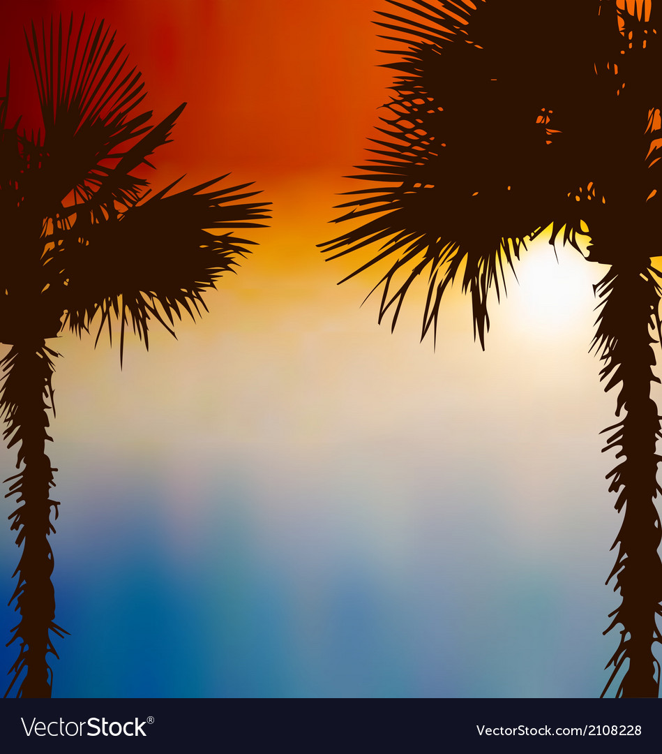 Tropical palm trees sunset background vector | Price: 1 Credit (USD $1)
