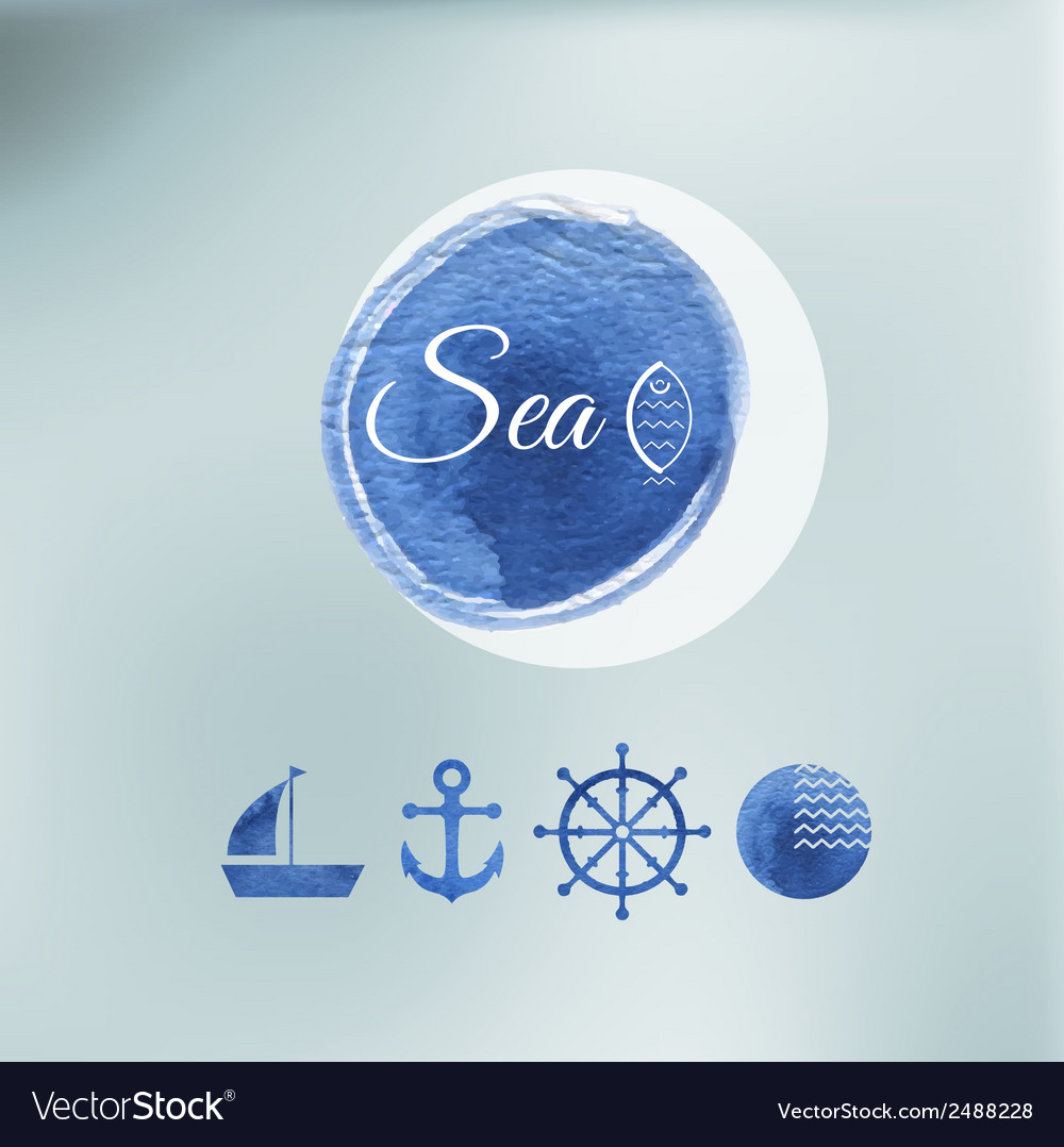 Water color sea elements of design vector | Price: 1 Credit (USD $1)