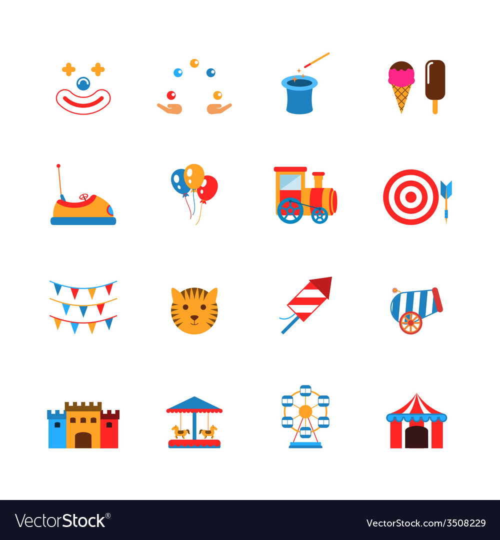 Amusement park icons flat vector | Price: 1 Credit (USD $1)