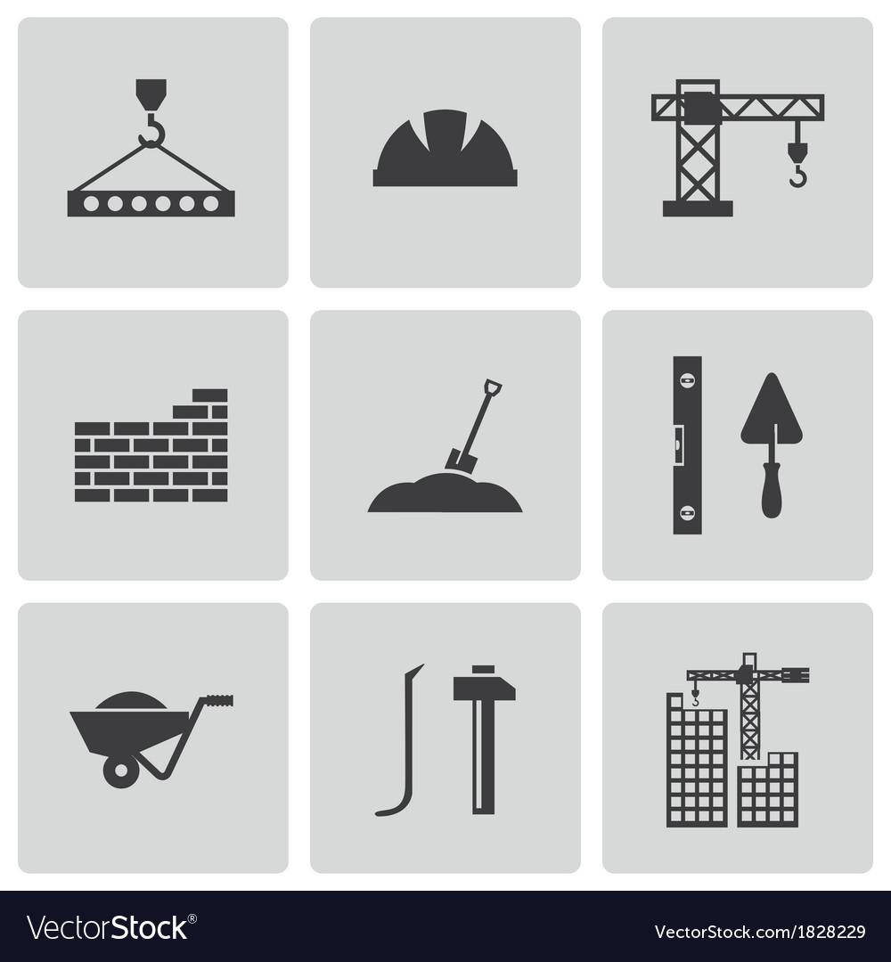 Black construction icons set vector | Price: 1 Credit (USD $1)