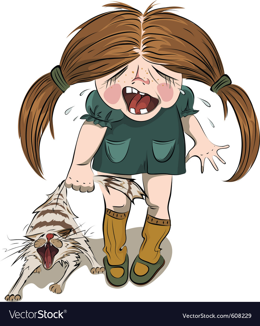 Crying girl tortures a cat vector | Price: 5 Credit (USD $5)