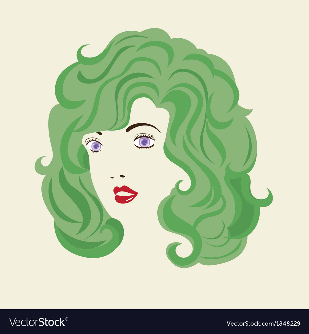 Curly hair woman hair style vector | Price: 1 Credit (USD $1)