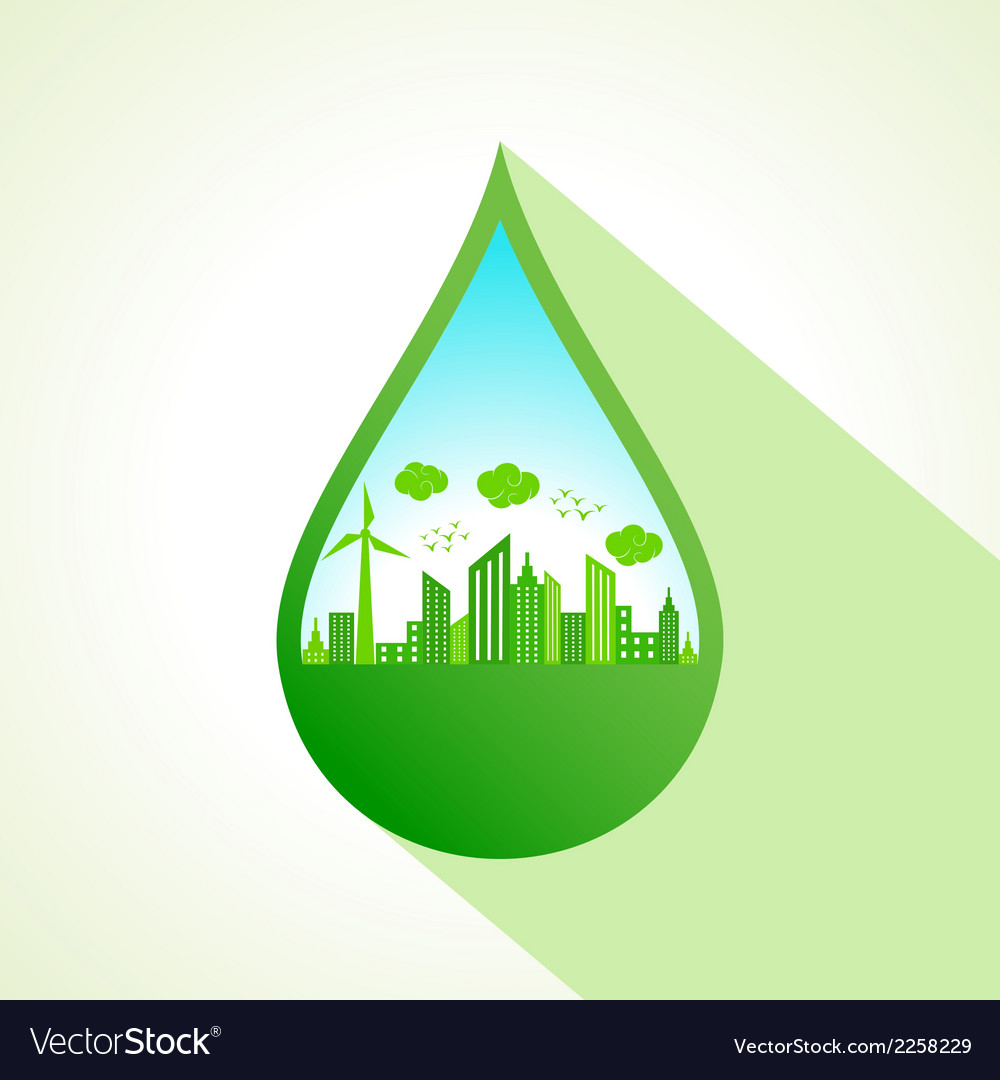 Ecology concept with water drop stock vector | Price: 1 Credit (USD $1)