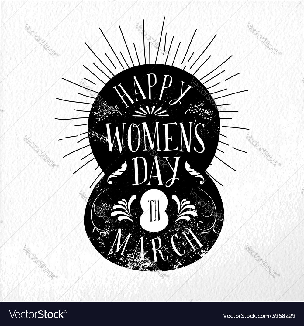 Happy women day vintage vector | Price: 1 Credit (USD $1)