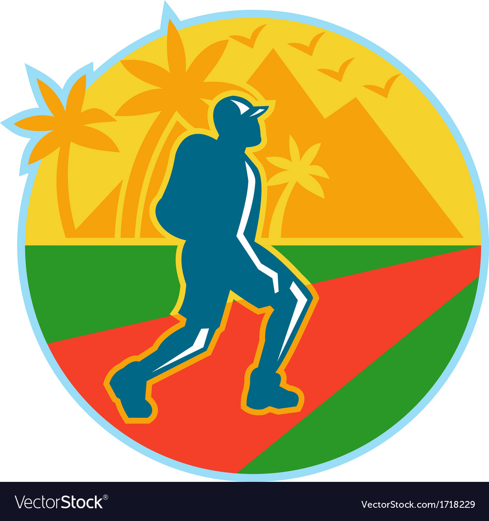 Hiker hiking road mountain retro vector | Price: 1 Credit (USD $1)