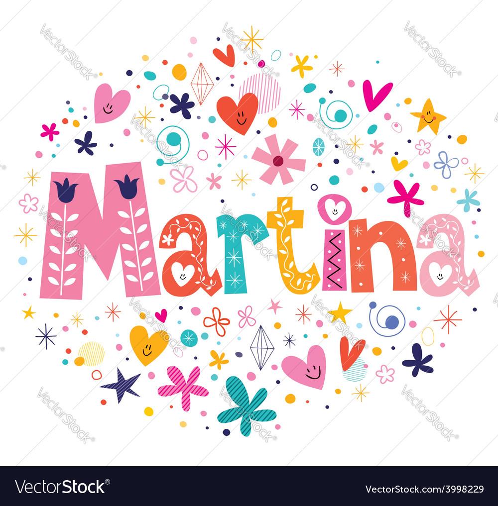 Martina female name decorative lettering type vector | Price: 1 Credit (USD $1)