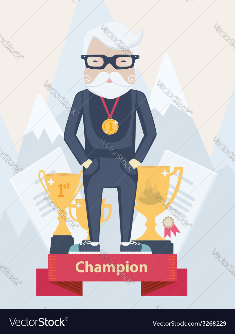 Old man champion in sport vector | Price: 1 Credit (USD $1)