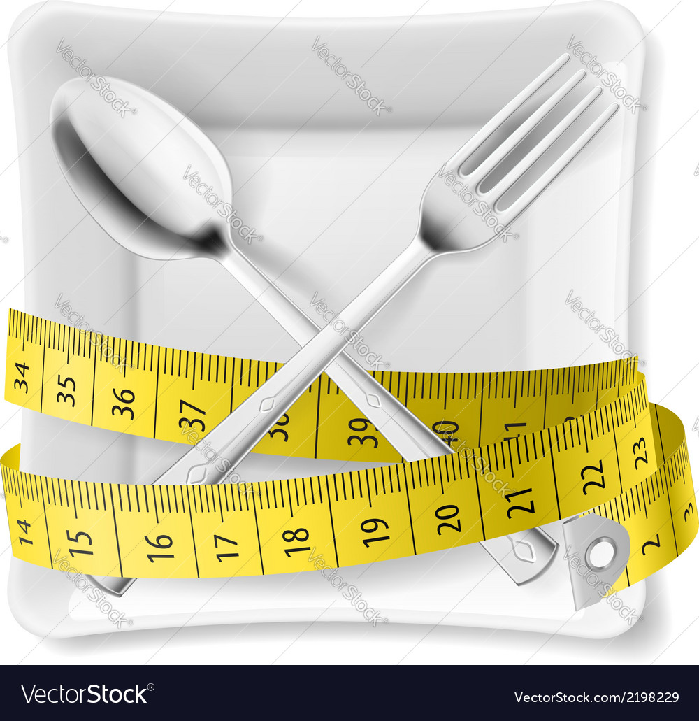 Plate with flatware and tape measure vector | Price: 1 Credit (USD $1)