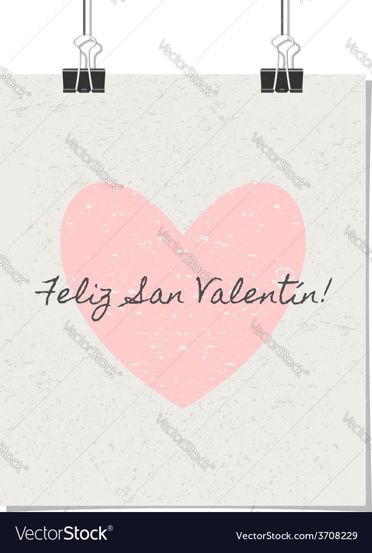 Spanish st valentines day poster vintage design vector | Price: 1 Credit (USD $1)