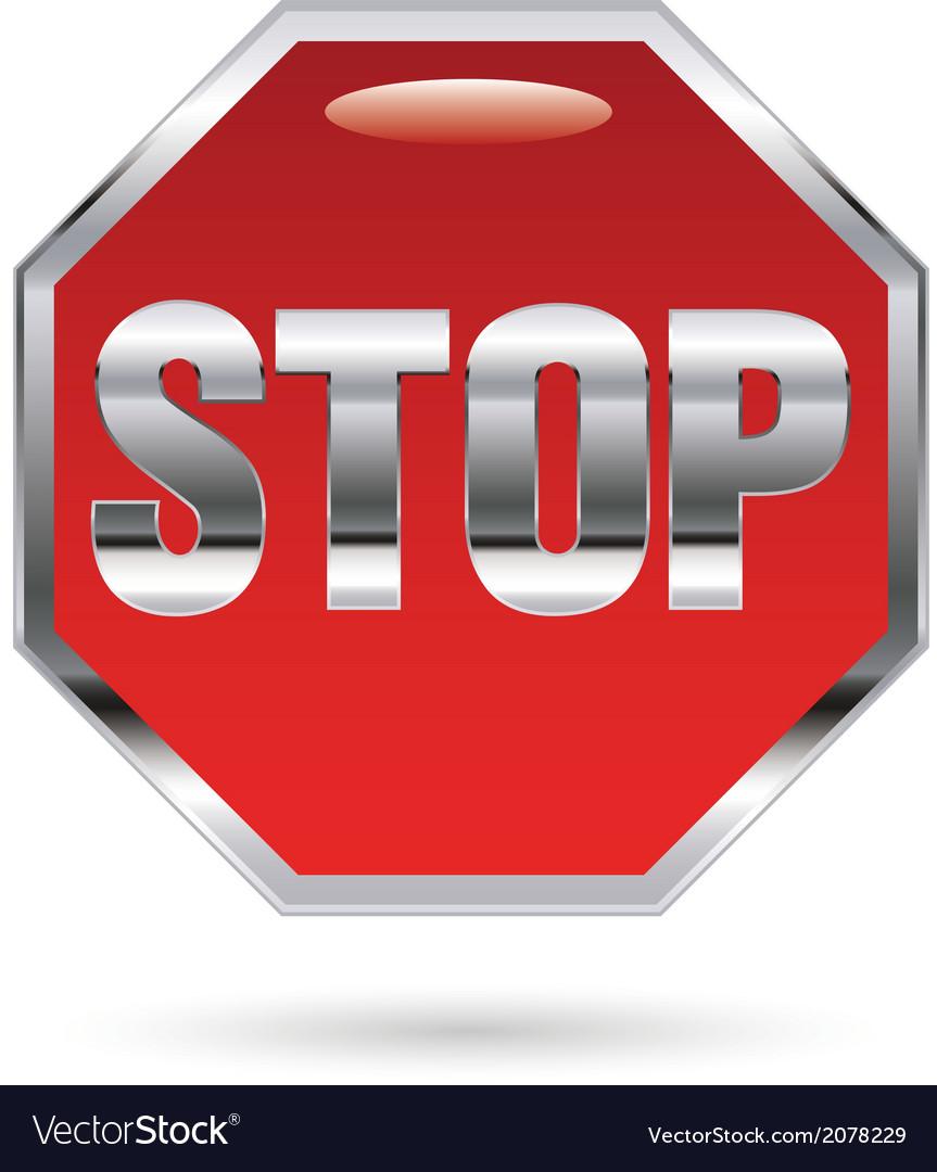 Stop metal sign vector | Price: 1 Credit (USD $1)