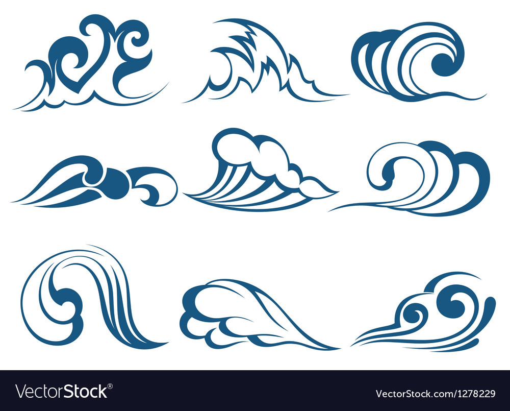 Wave symbols vector | Price: 1 Credit (USD $1)