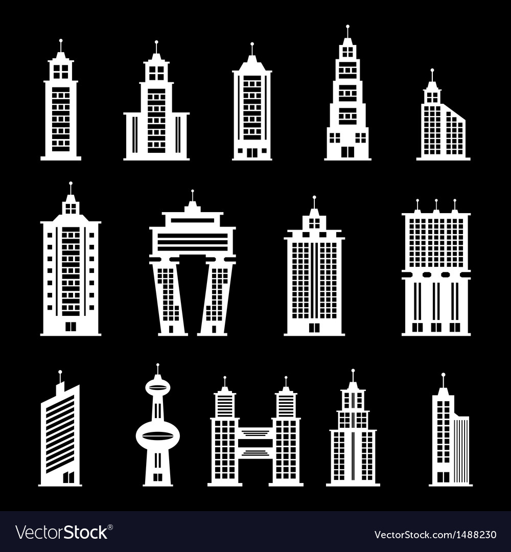 Building set 2 - white vector | Price: 1 Credit (USD $1)
