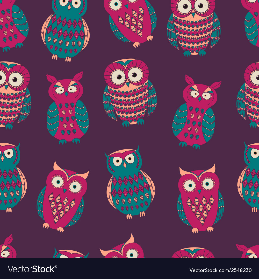 Colorful seamless pattern with cute different owls vector | Price: 1 Credit (USD $1)