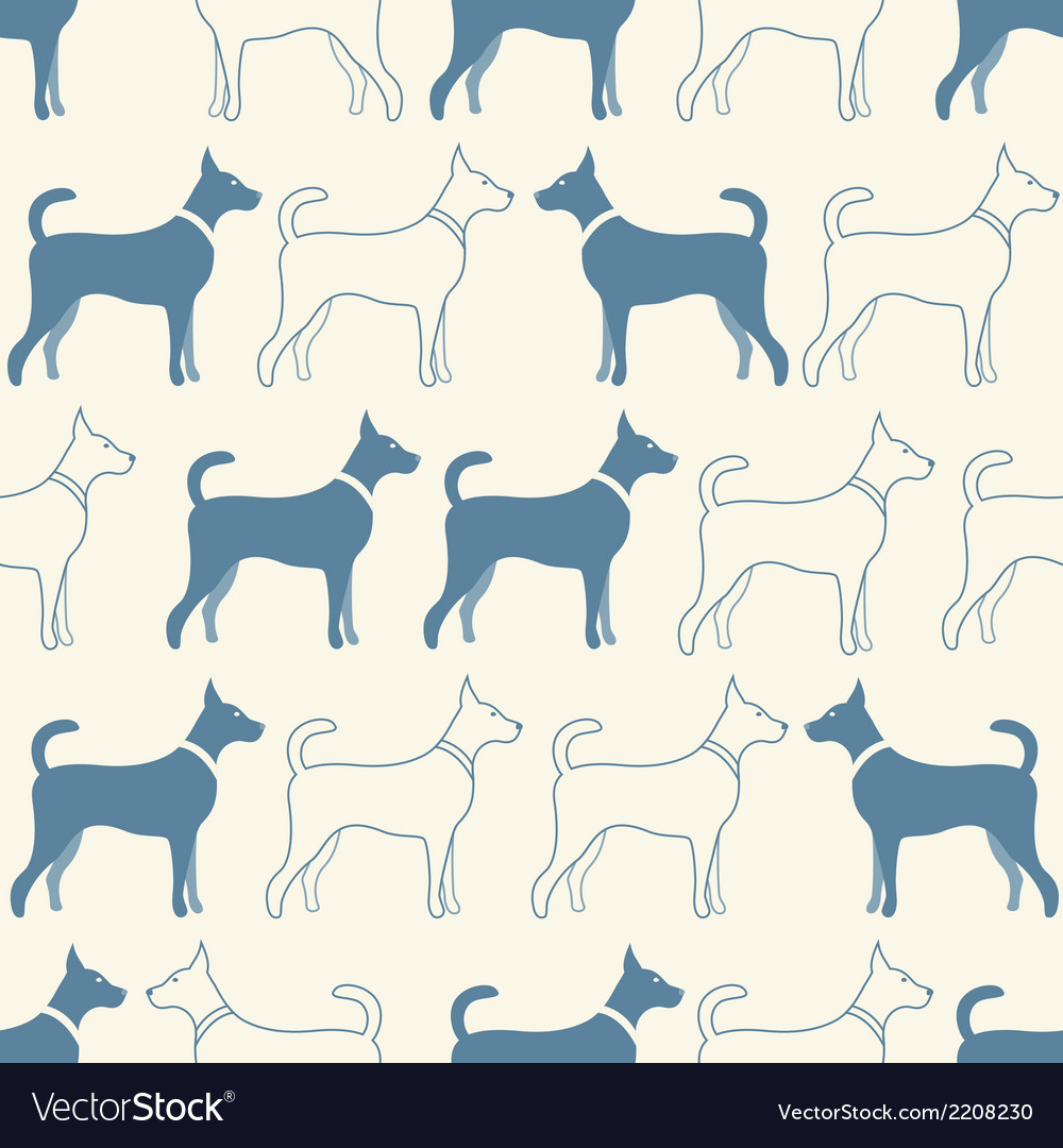 Cute doodle seamless pattern of dog silhouettes vector | Price: 1 Credit (USD $1)