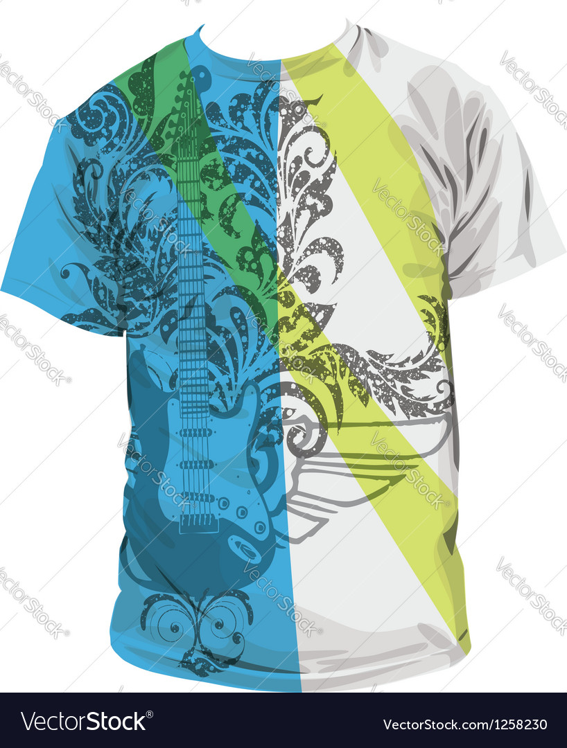 Guitar t-shirt vector | Price: 1 Credit (USD $1)