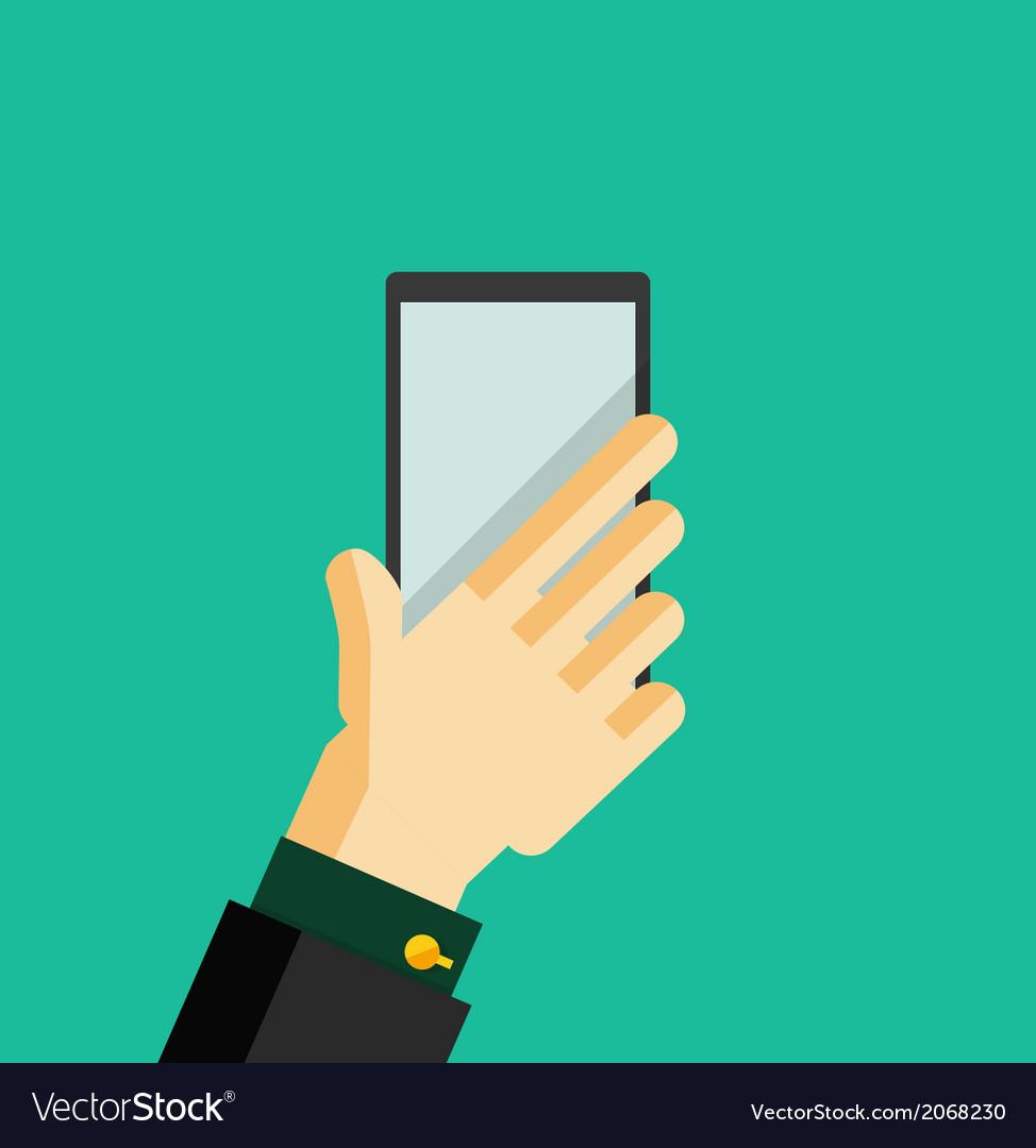 Hand holding smart phone trendy flat design vector | Price: 1 Credit (USD $1)