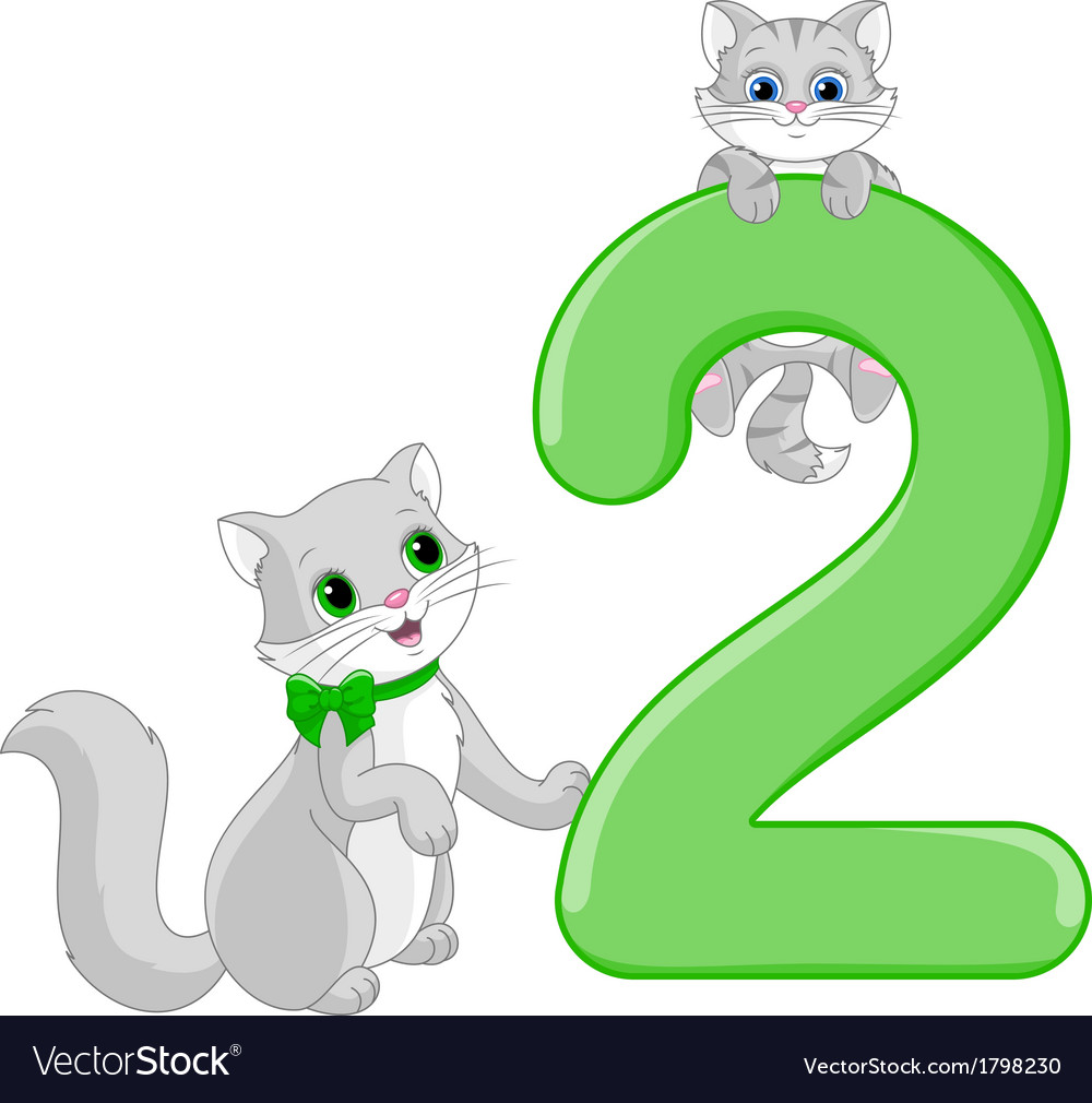 Number two and two cats vector | Price: 1 Credit (USD $1)