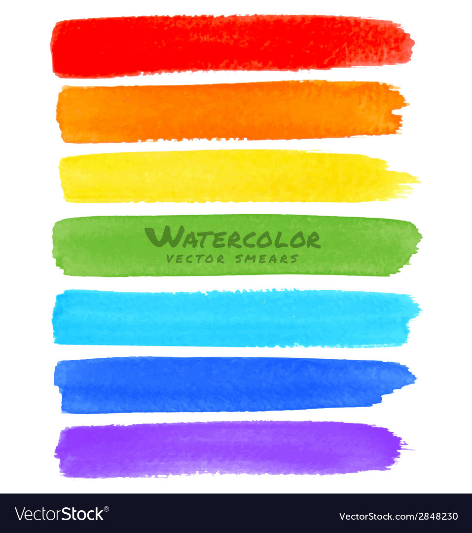 Rainbow watercolor brush smears vector | Price: 1 Credit (USD $1)