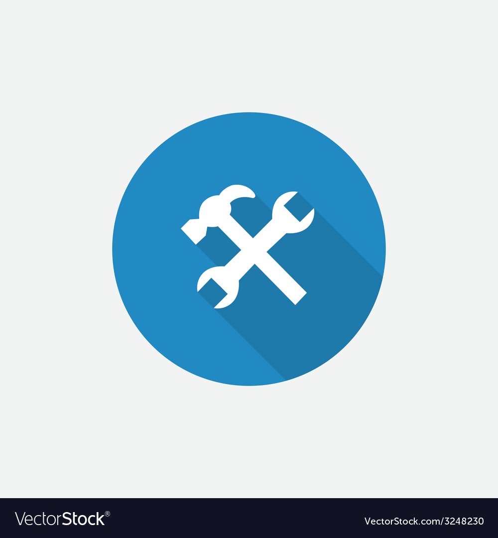 Repair flat blue simple icon with long shadow vector | Price: 1 Credit (USD $1)
