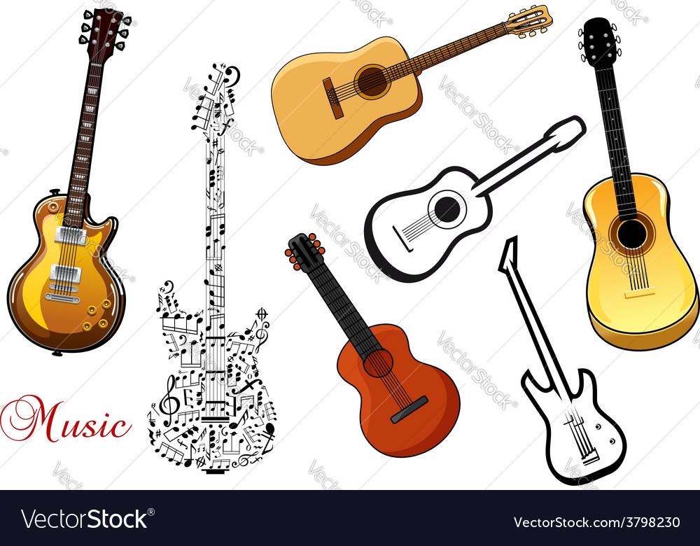 Set of musical guitars vector | Price: 1 Credit (USD $1)