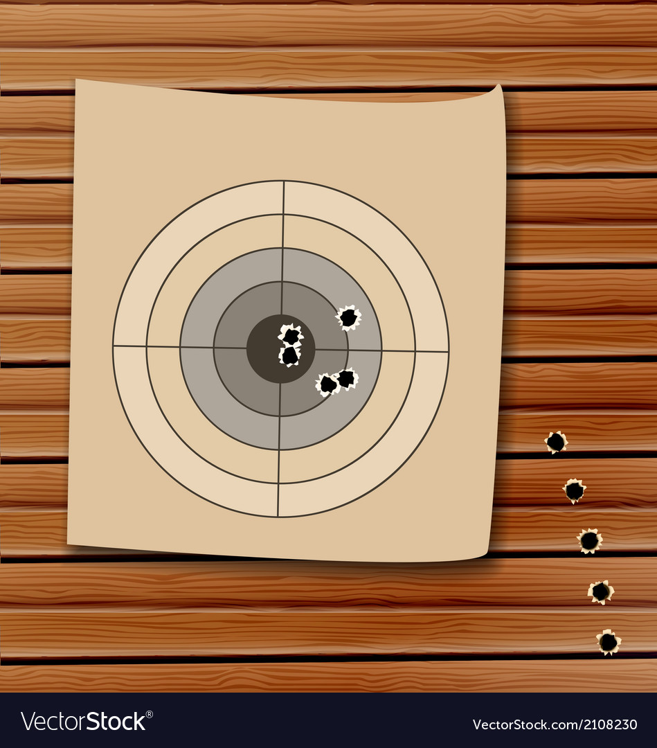 Shooting range target with bullet holes vector | Price: 1 Credit (USD $1)