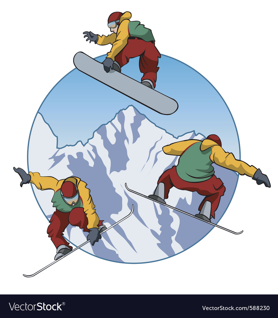 Snowboarding vector | Price: 3 Credit (USD $3)