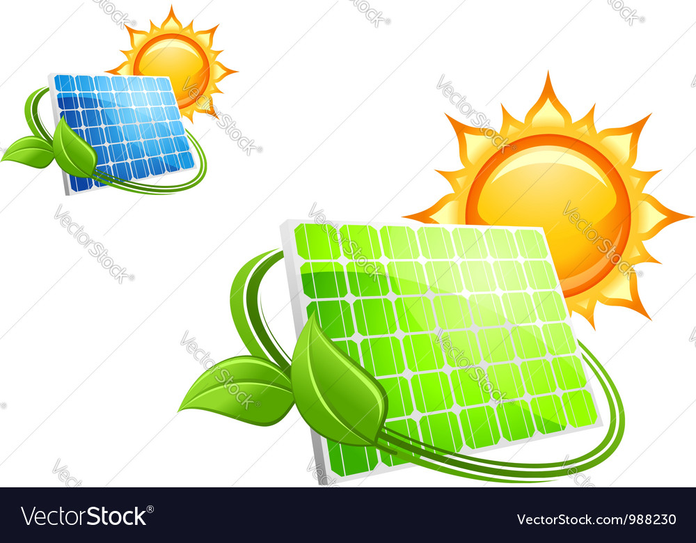 Solar panels and batteries vector | Price: 3 Credit (USD $3)