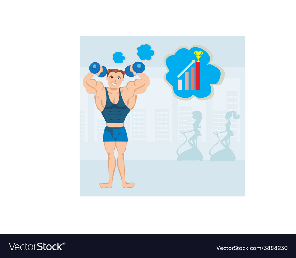 Strong man exercising in the gym vector | Price: 1 Credit (USD $1)