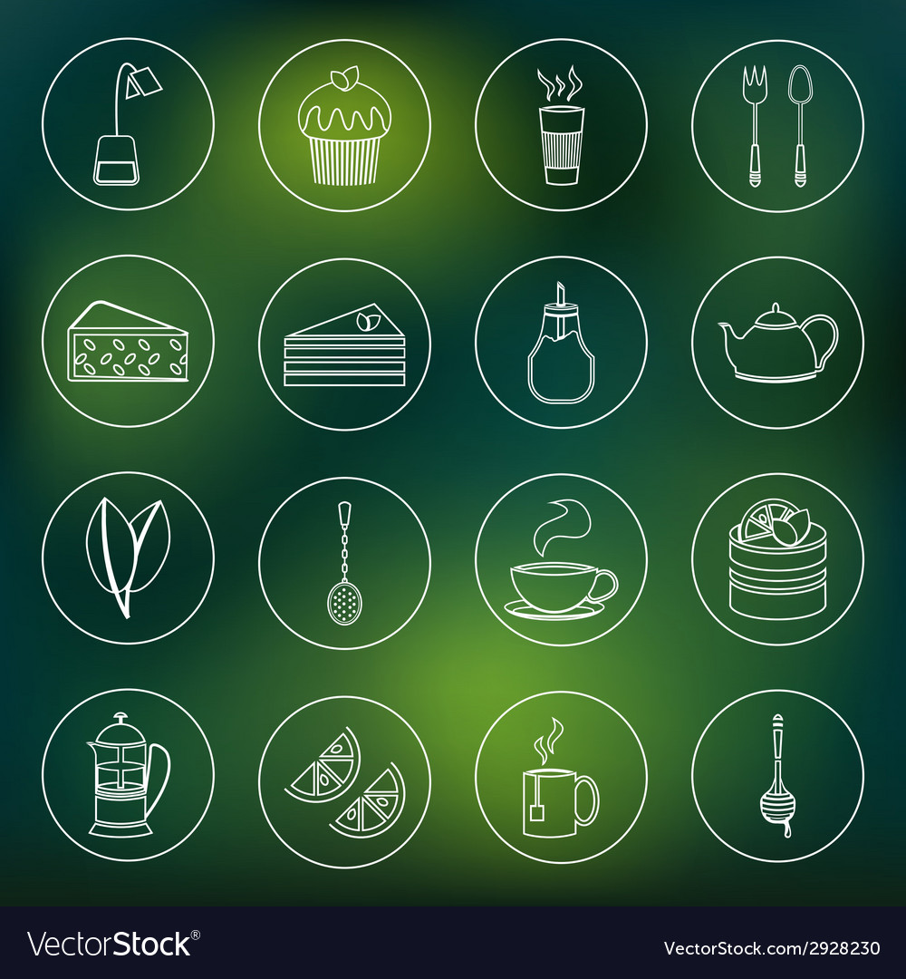 Tea icons set outline vector | Price: 1 Credit (USD $1)