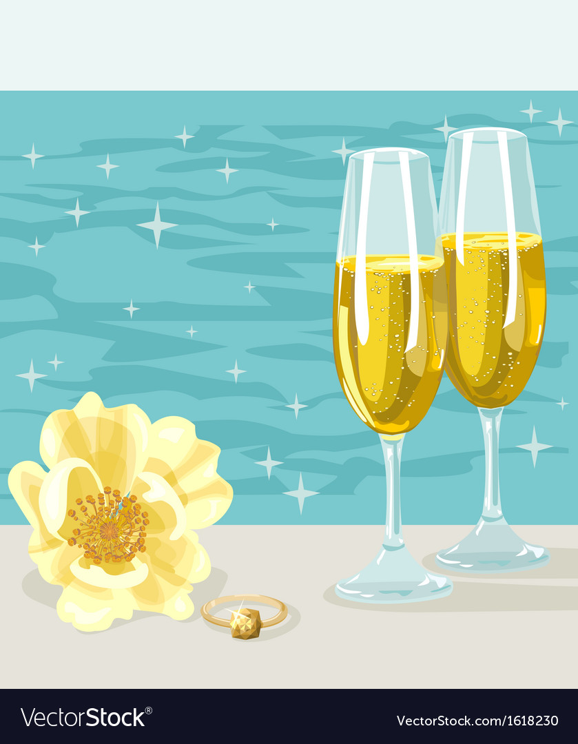 Two glasses of cold champagne flower and ring vector | Price: 1 Credit (USD $1)