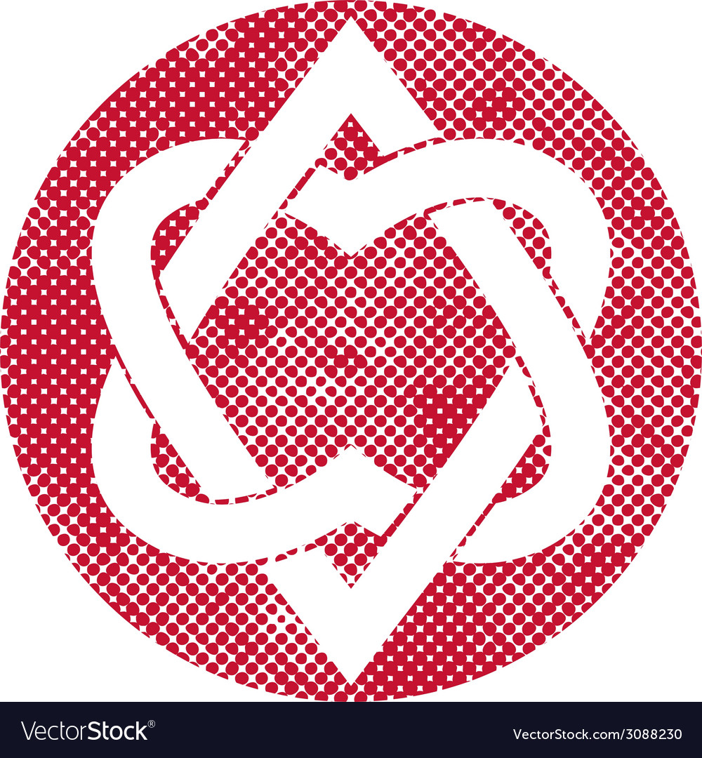 Two hearts linked symbol with pixel print halftone vector   Price: 1 Credit (USD $1)