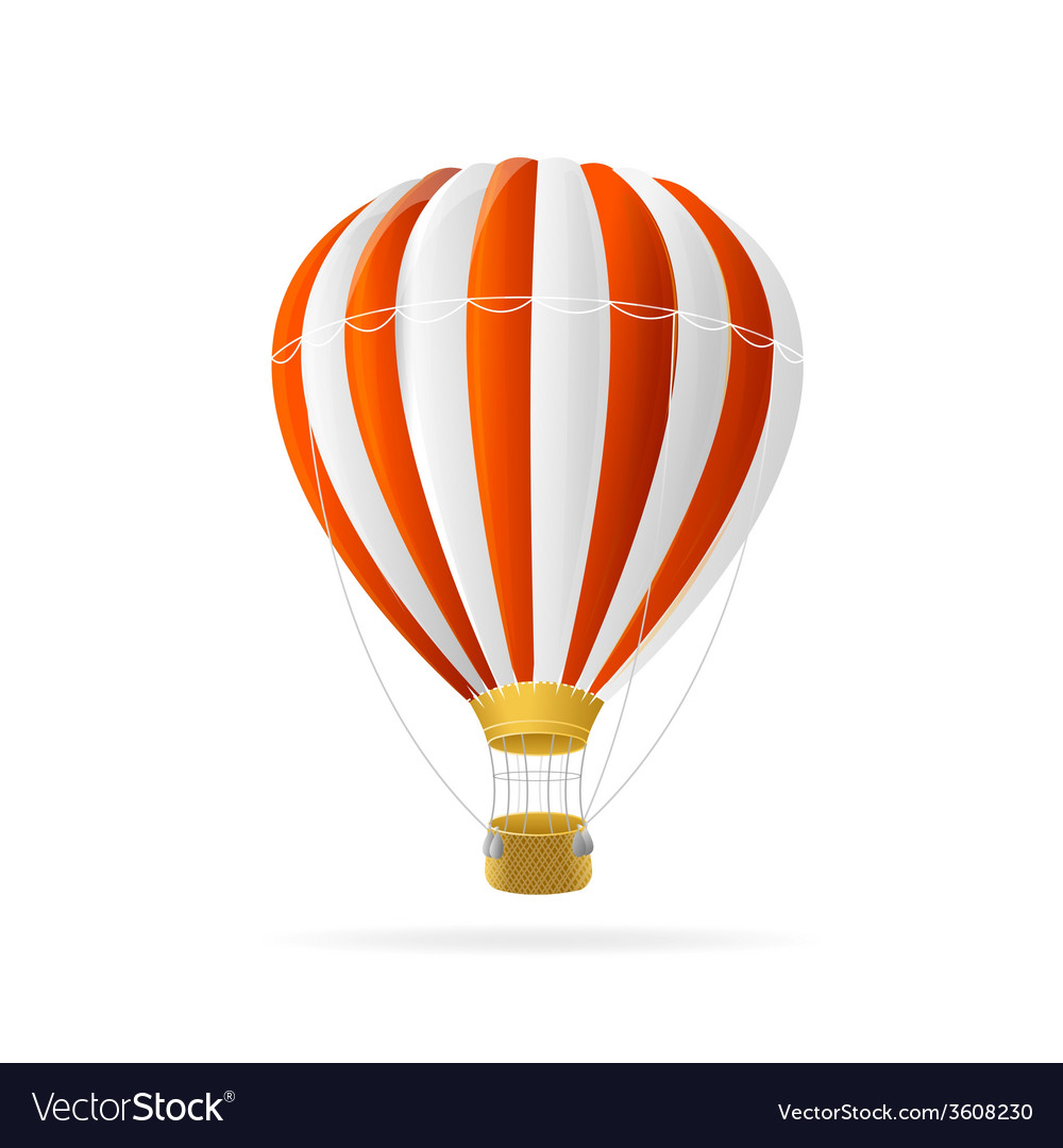 White and red hot air ballon isolated vector | Price: 1 Credit (USD $1)