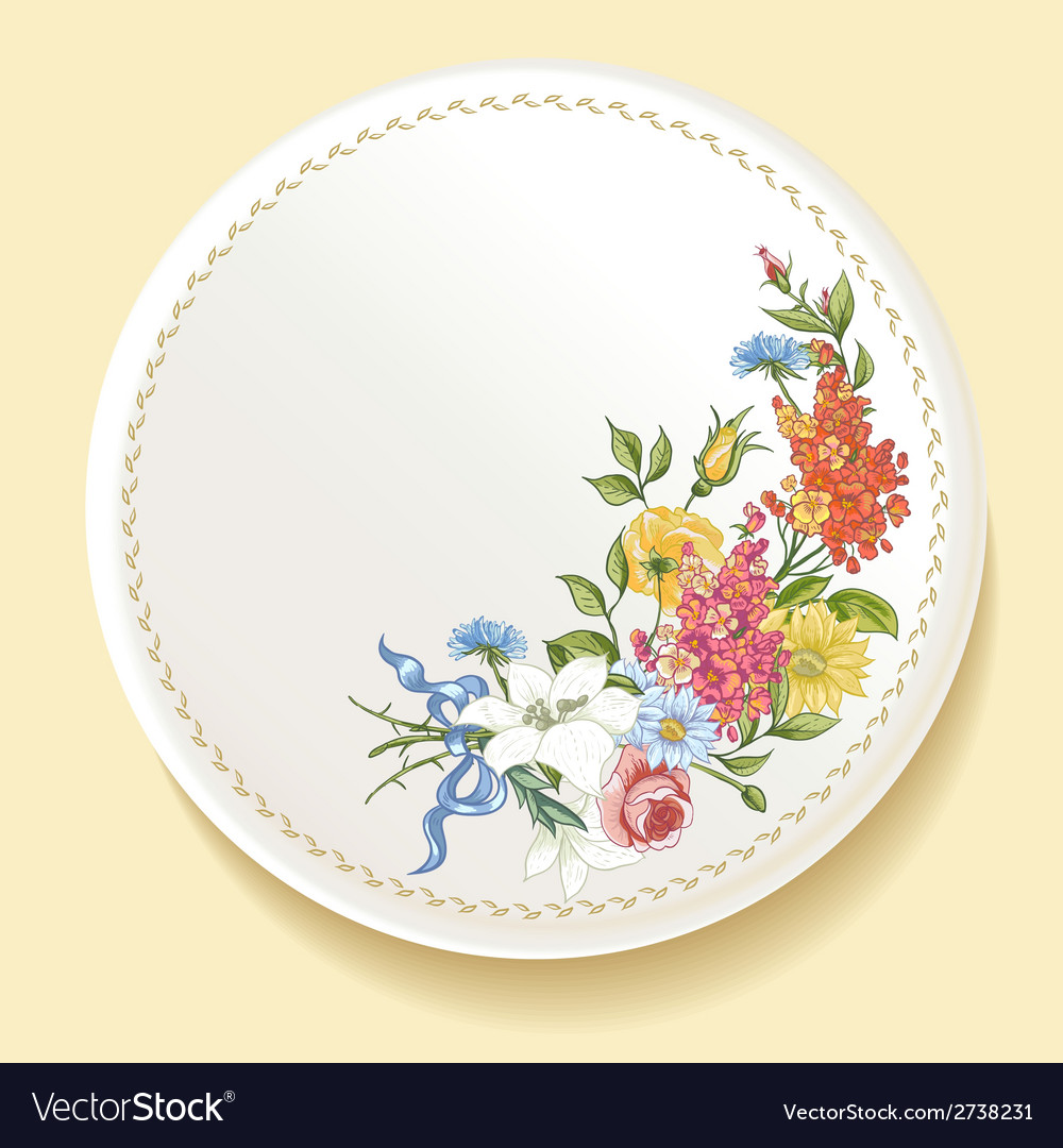 Baroque bouquet of wildflowers on white plate vector | Price: 1 Credit (USD $1)
