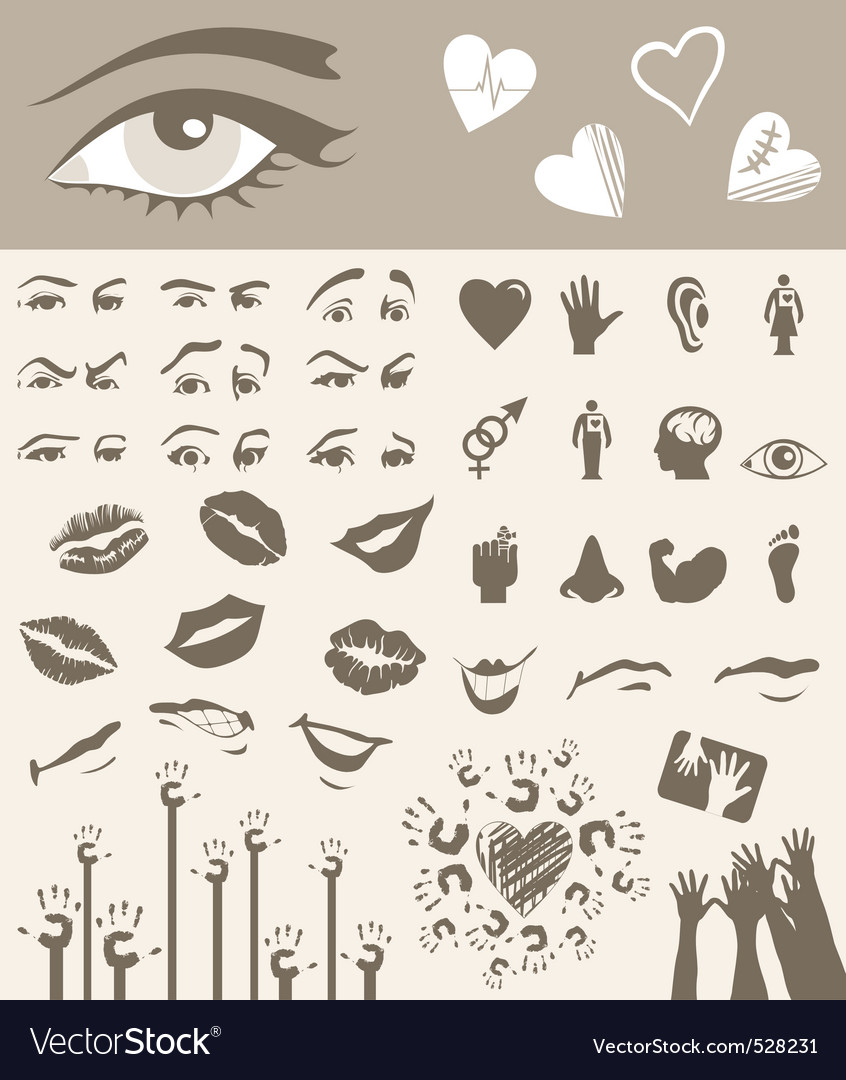Body parts design elements vector | Price: 1 Credit (USD $1)