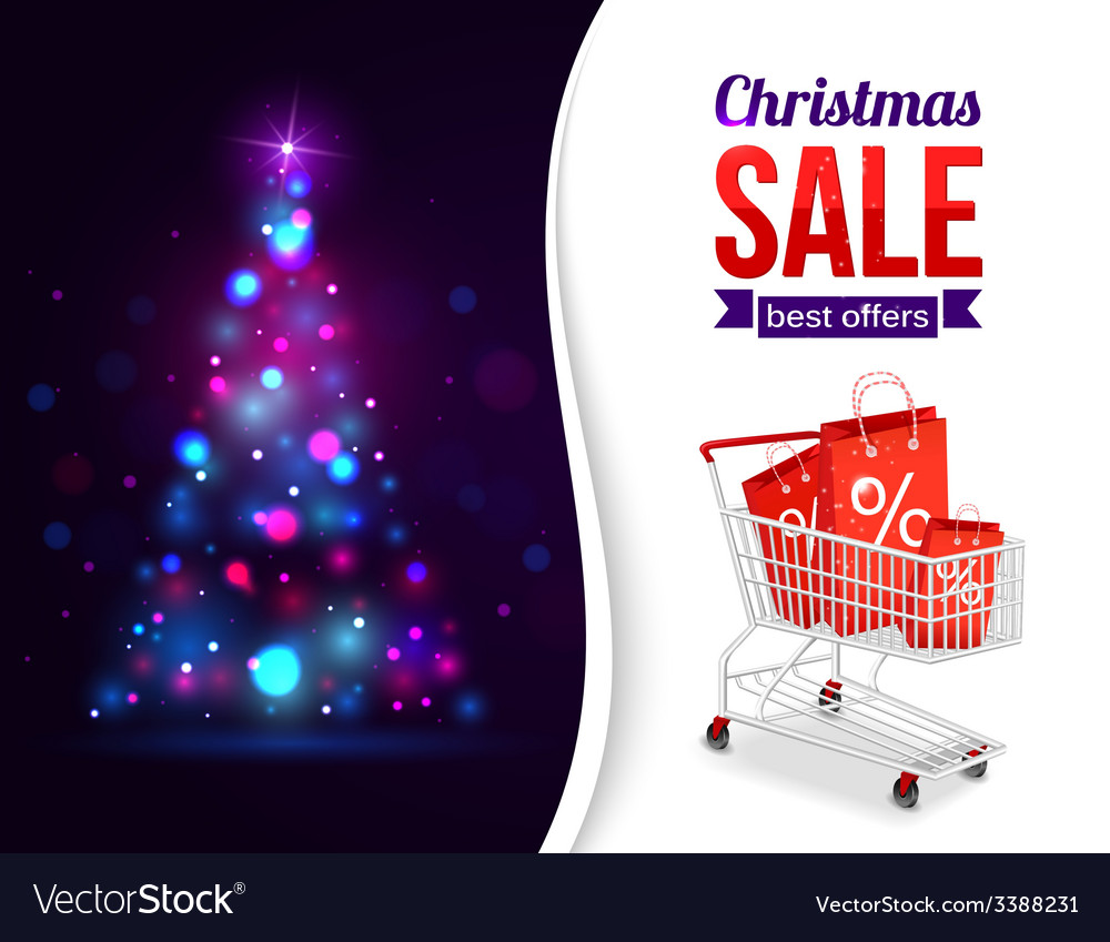 Christmas sale shining typographical background vector | Price: 3 Credit (USD $3)