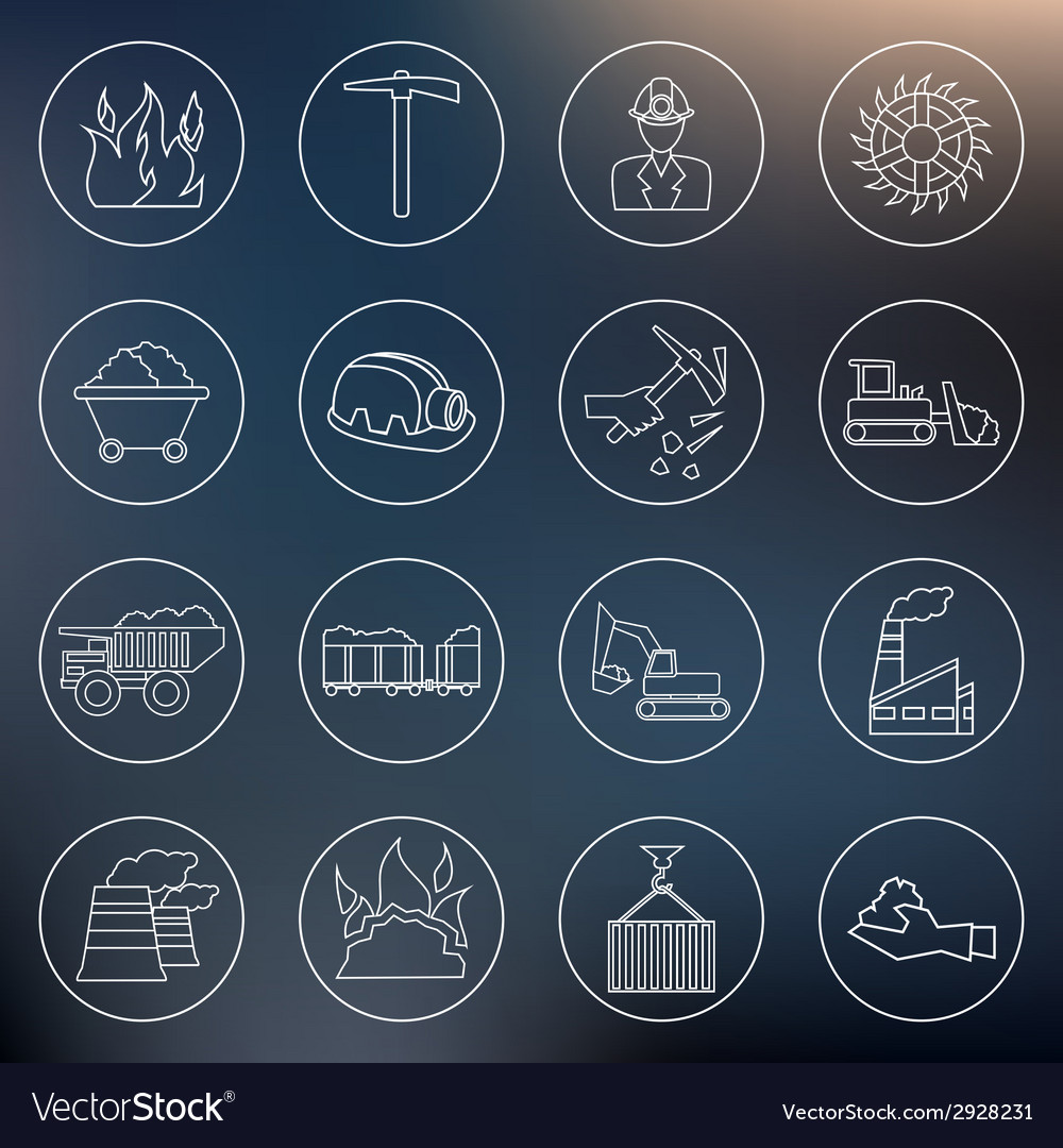 Coal industry icons outline vector | Price: 1 Credit (USD $1)