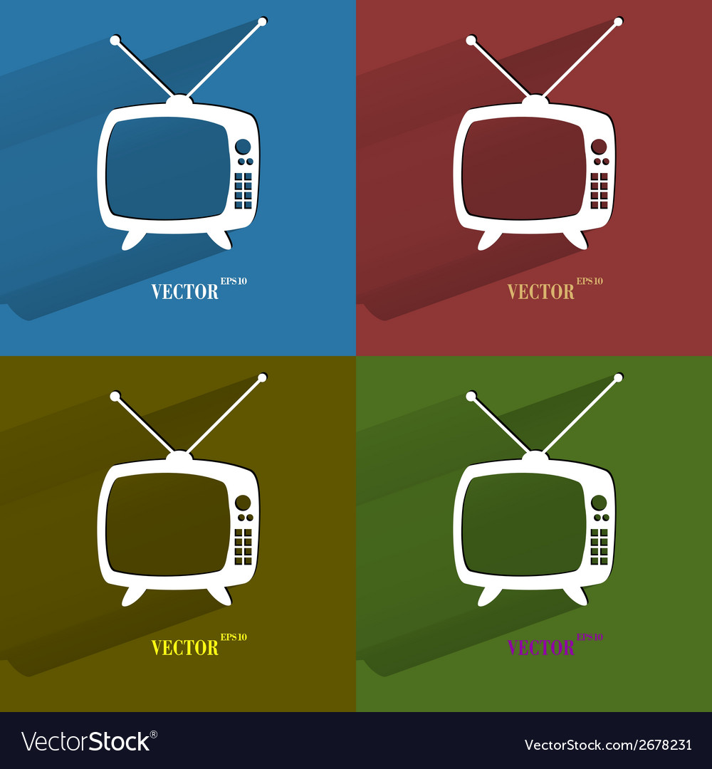 Color set retro tv flat modern web button with vector | Price: 1 Credit (USD $1)