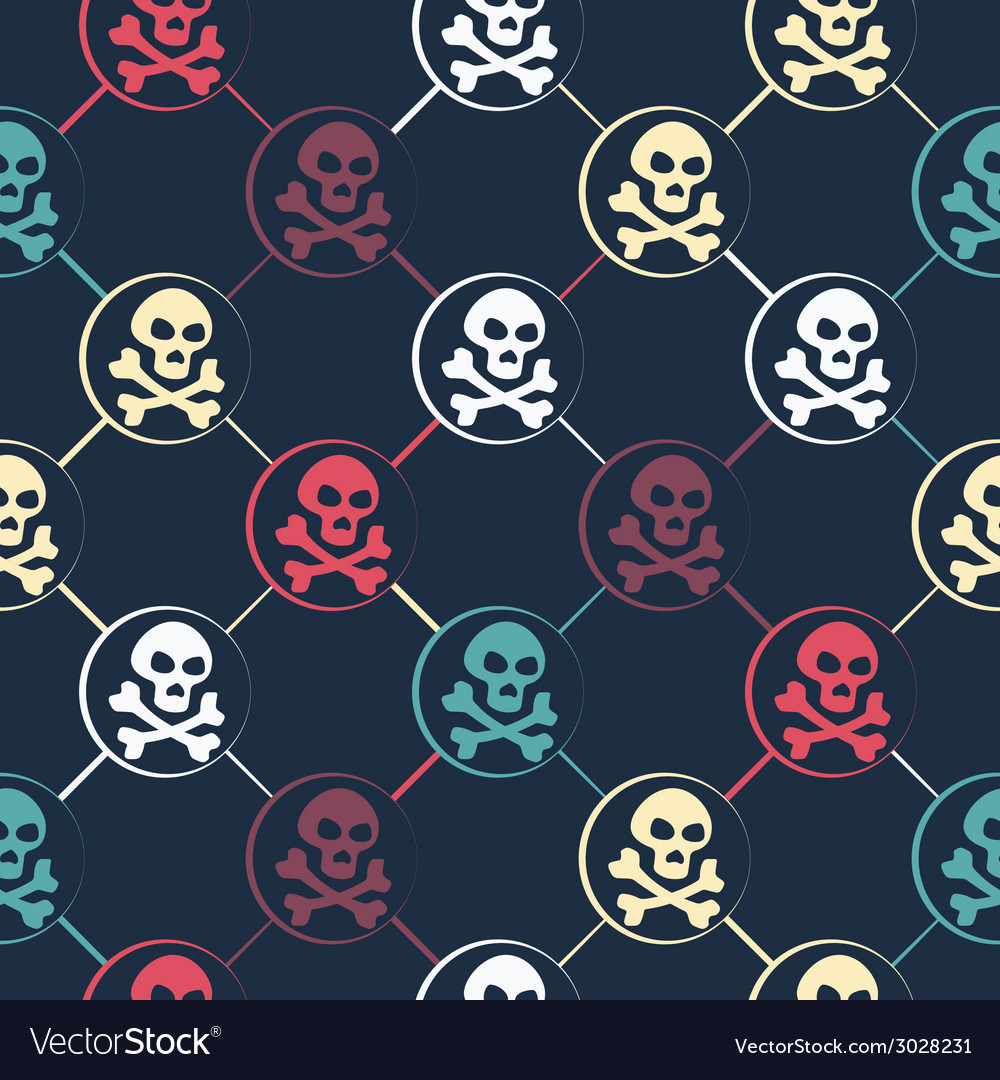 Colored skull pattern vector | Price: 1 Credit (USD $1)