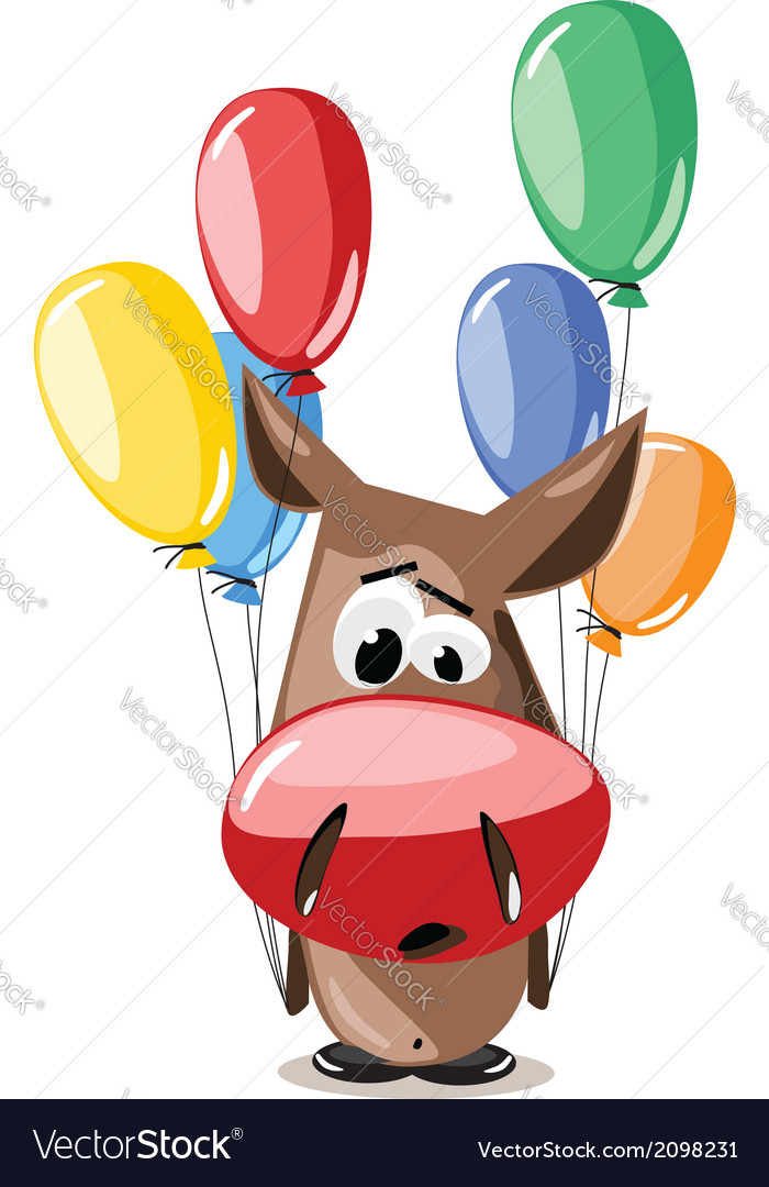 Donkey with balloons vector | Price: 1 Credit (USD $1)