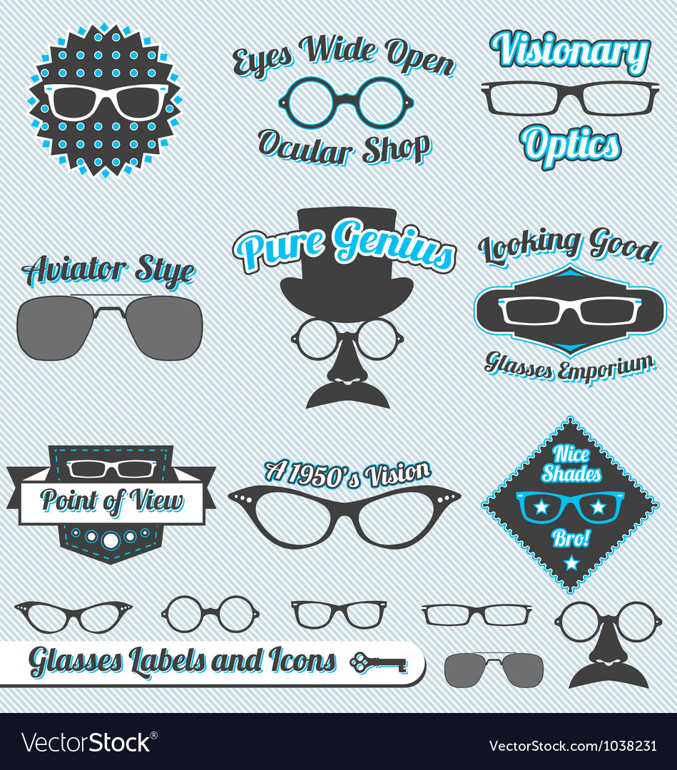 Glasses labels and icons vector | Price: 1 Credit (USD $1)