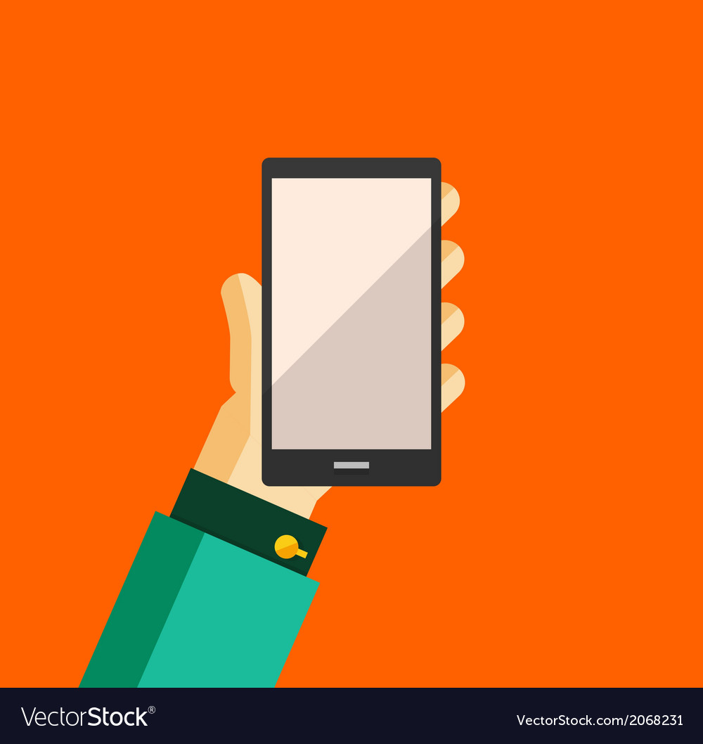 Hand holding smart phone trendy flat design vector | Price: 1 Credit (USD $1)
