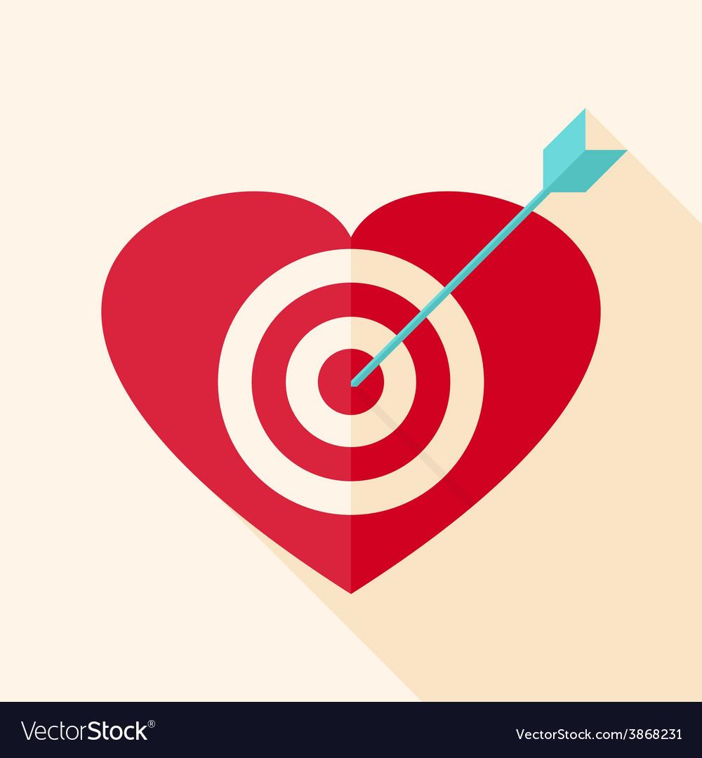 Heart target with arrow vector   Price: 1 Credit (USD $1)