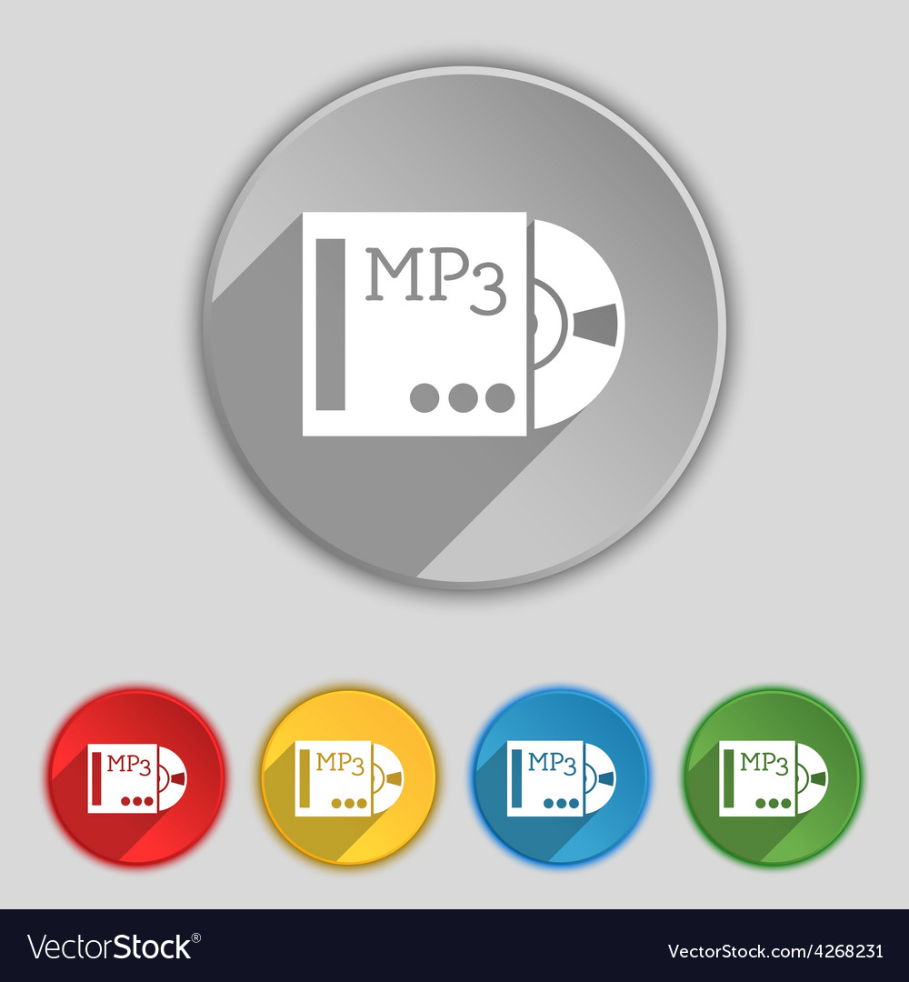 Mp3 player icon sign symbol on five flat buttons vector | Price: 1 Credit (USD $1)