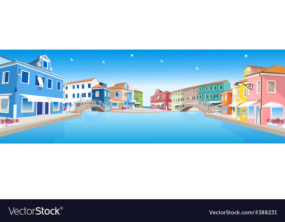 Retro city street with water canal vector | Price: 3 Credit (USD $3)