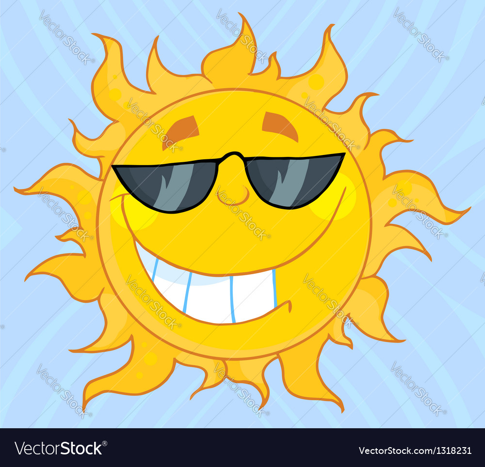 Smiling sun mascot cartoon character with sunglass vector | Price: 1 Credit (USD $1)