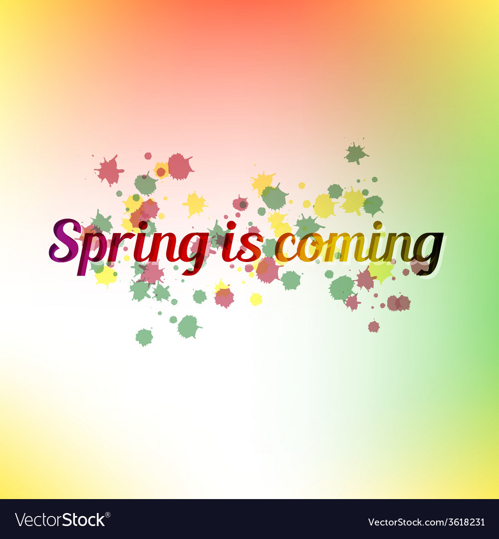 Spring is coming bright colorful poster and vector | Price: 1 Credit (USD $1)