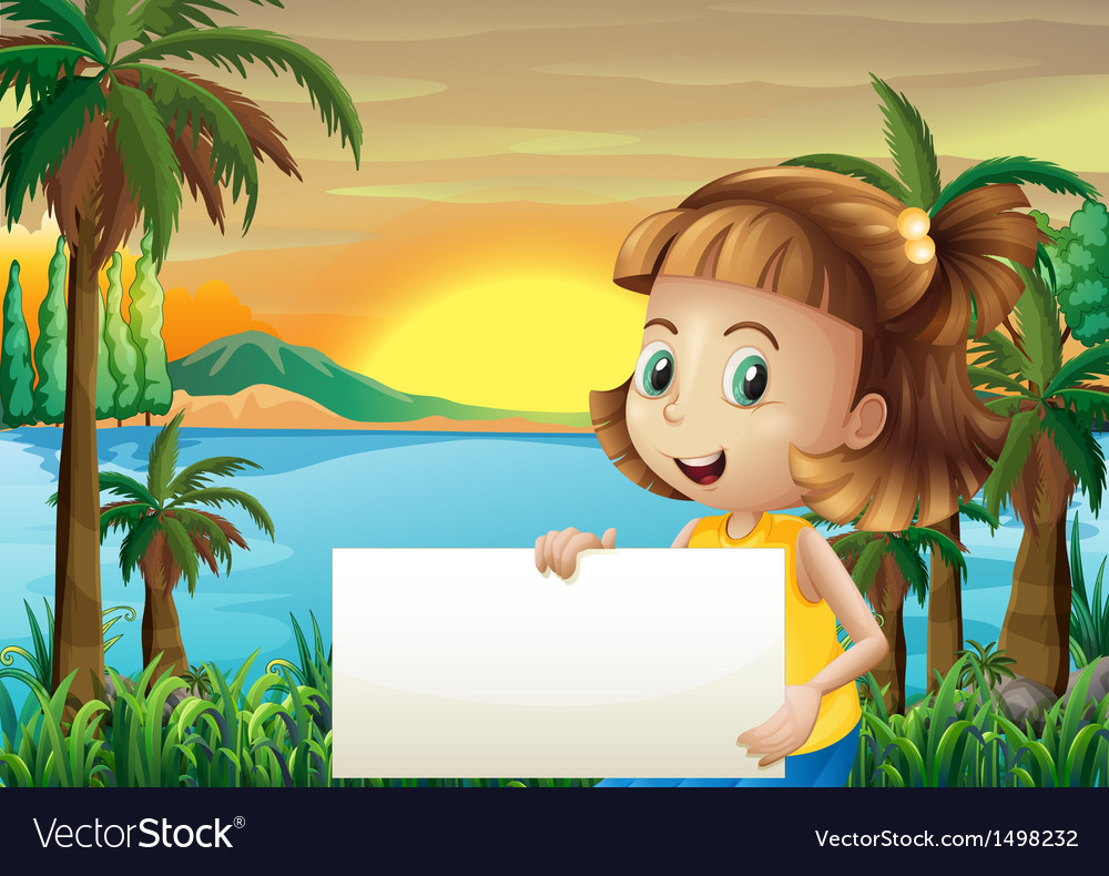 A little girl holding an empty signage vector | Price: 1 Credit (USD $1)