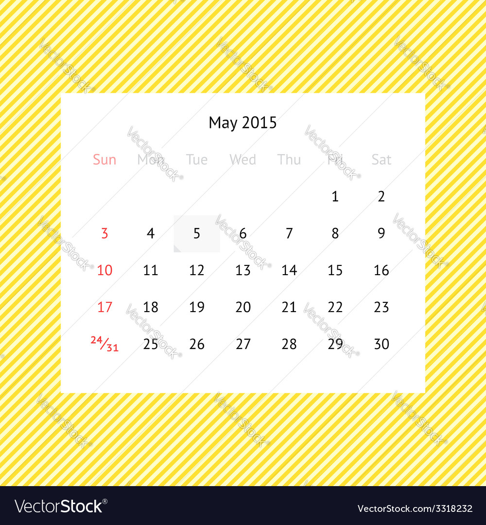 Calendar page for may 2015 vector | Price: 1 Credit (USD $1)